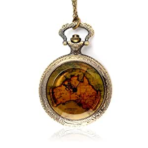 YESURPRISE Vintage Bronze Map Harry Potter Steampunk Pocket Clock Watch Pendant Necklace Party Gift