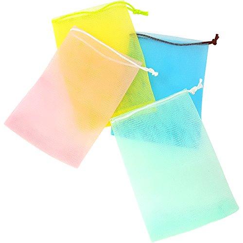 com-four® 4X Seifenbeutel, farbige Seifennetze mit bunter Kordel in rosa, gelb, grün und blau (04 Stück - bunt)
