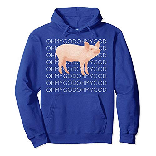 DENGZI Damen Pullover mit Aufdruck Schwein und OH My God, langärmlig Gr. Small, blau