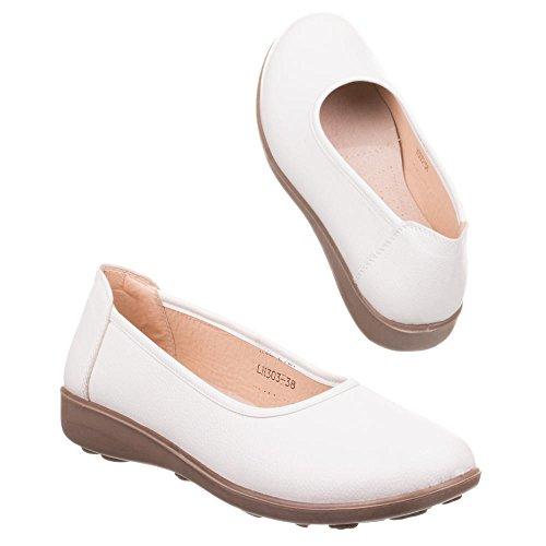Damen Schuhe, H303-1, HALBSCHUHE Weiß