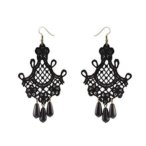 MYJ Frauen Spitze Mode Retro Fringe Übertrieben Ohrringe - Weibliche Ohrringe Handgemachte Original Schmuck,schwarz,A