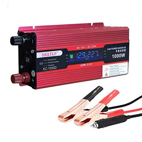 SAILFLO Fahrzeug 1000 W Car Power Inverter Konverter DC 12 V zu AC 220 V USB Adapter tragbar Spannung Trafo KFZ Ladegeräte (12 Volt Zu Ac Inverter)