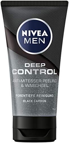 NIVEA MEN Deep Control Anti-Mitesser Peeling und Waschgel im 3er-Pack (3 x 75 ml), Gesichtsreinigung, porentiefe Reinigung mit Peeling fürs Gesicht