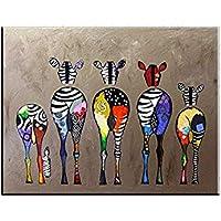 Hianiquaime Dessin D'ornement Tableau Decoration Mural Peinture à l'huile Impression sur Toile Art Moderne sans Encadrement Zèbres Multicolore 70 * 50cm