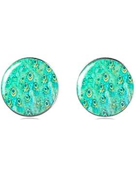 Tizi Jewellery 925 Sterling Silber Grüne Pfaufeder Ohrstecker 12 mm Handgemachte Ohrringe für Damen und Mädchen...