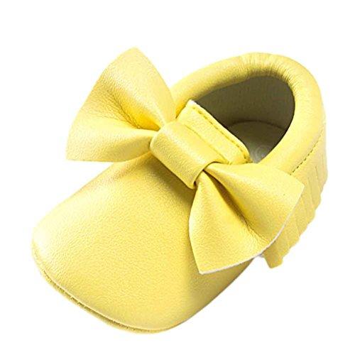 e Neugeborenen Solekleinkind Mädchen Tanzschuhe Leder T-Strap Schuhe Lauflernschuhe Mädchen Krabbelschuhe Streifen-beiläufige Wanderschuhe LMMVP (Gelb, 12 (6 ~ 12 Monate)) (Jungen-leder-kleid-schuhe)