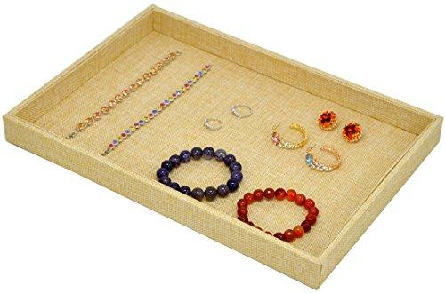 Standard-stapelbar (Gelb Leinen stapelbar Jewelry Tablett Styling Display Lagerung Organizer, yellow linen blank tray, Standard)