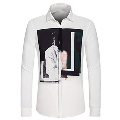 Honghu Herren Casual Slim Fit Langarm Hemd Weiß