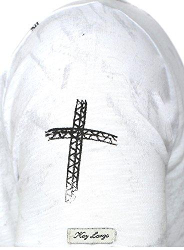 Key Largo Herren T-Shirt DESTINY mit Kreuz Print Ziehrnähte und Vintage Effekten Weiß