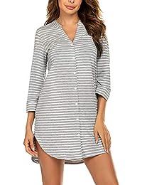 Balancora Damen Nachthemd Kopfleiste Sleepshirt Streifen Geburt Stillnachthemd 3/4 Ärmel Gestreiftes Nachthemd