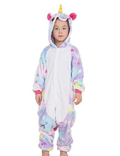 Kinder Pyjamas Tier Einhorn Jumpsuit Nachtwäsche Unisex Cosplay Kostüm für Mädchen und Jungen (125/Größe:135-145cm, Violett Star)