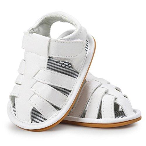 OverDose Unisex-Baby weiche warme Sohle Leder / Baumwolle Schuhe Infant Jungen-Mädchen-Kleinkind Schuhe 0-6 Monate 6-12 Monate 12-18 Monate E-PU Leder+Gummi-Weiß