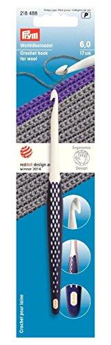 Prym Ergonomische Häkelnadel für Wolle, weiß/Dark Violet, 6mm, 5-teilig (Dark Perfect 0)