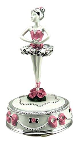 Musicbox World Ballerina - Caja de música, Color Plateado, 9,5 x 22,5 x 17 cm