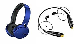 Extra Bass XB650 Headphones & Bluetooth Headset for MICROMAX CANVAS BLAZE MT500(XB 650 Headphones,With MIC,Extra Bass,Headset,Sports Headset,Wired Headset & Black LG Tone Bluetooth Headset)