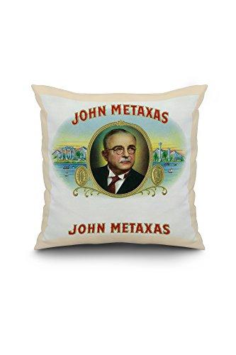john-metaxas-brand-cigar-box-label-20x20-spun-polyester-pillow-cover-custom-border