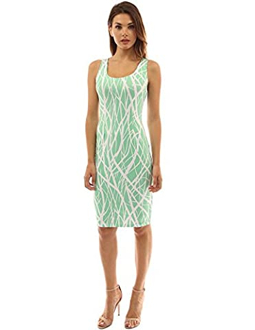 PattyBoutik Women's Sleeveless Scoop Neck Summer Dress (Green And White 16)
