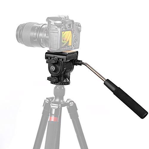 Neewer Fluid Videokopf Videoneiger Stativkopf Kugelkopf mit Schnellwechselplatte für DSLR-Kameras mit 1/4