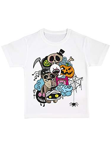 clothinx Kinder T-Shirt Bio Halloween Doodle Weiß/Bunt Größe 92