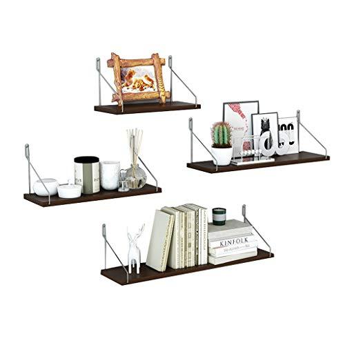 GY Schwimmende Regale Wandhalterung 4 Stück Set Holz Lagerung Display Leiste Dekoratives Regal Wohnzimmer Schlafzimmer Trophäe, Bild Halterung 2 Farben (Farbe : Espresso Finish)