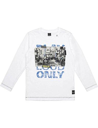 Replay Jungen Langarmshirt SB7060.068.2660 Weiß (Optical White 1) 152 (Herstellergröße: 12A) Papillon T-shirt Sweatshirt