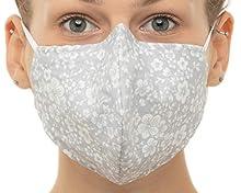 Mascherina Polvere,Maschera Protettiva, Riutilizzabile, Lavabile, Maschera Antipolvere, per Donna e Uomo, Cotone 100% (grigio con fiori)