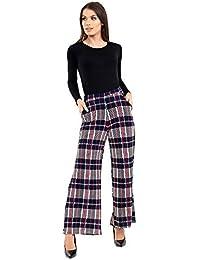 b015379fcd8 Verso Fashion Women s New Wide Leg Check Print Trousers