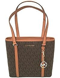 MICHAEL Michael Kors SADY Small N/S Top Zip Tote Bag Brown PVC