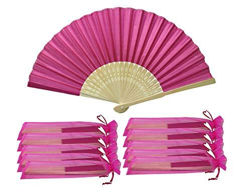 Rangebow SHF02 Rose foncé, rose foncé, Magenta 10 Commerce de gros en soie élégant Éventail en bambou cadeau mariage faveur de la cage thoracique