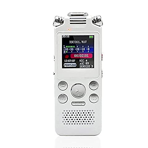 Digital Voice Recorder, Sound Recorders, 8GB Voice Activated Recording Function, Dual Microphone HD Stereo Rechargeable Dictaphone, MP3 Player for Recording Interviews, Conversation, Meetings, Lectures from Elecrow