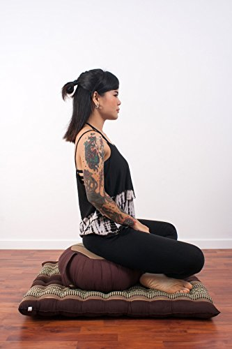 Set de Méditation Coussin Zafu, Tapis Zabuton, 76x72x25 cm, Kapok, Marron