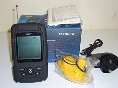 Wireless Fish Finder - 180 Metre Range, 4 level Grayscale, Bottom Contours, 40 metre depth, large LCD screen, battery and charger + many more features from TMC