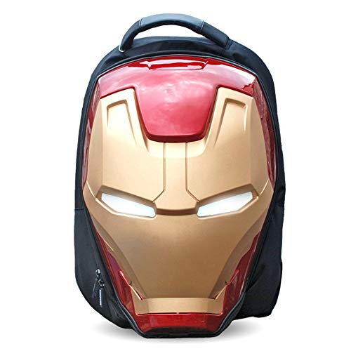 Tony Stark Avengers Iron Man's Helmet 3D Backpack 1:1 Eyes Lights School Bag Student Bag Camping Summer Camp for 10-35 Years Old 19 * 13 * 9.8in,Ironman