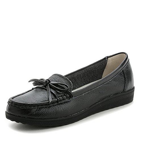 AllhqFashion Femme Rond Tire Cuir de Bœuf Couleur Unie à Talon Bas Chaussures Légeres Noir