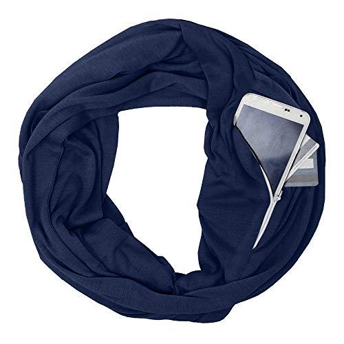 HSRG Tragbarer Schal Solid Soft Pocket Loop Schal Infinity Schal Alle Match Travel Journey Scaves Für Frauen Männer Ring Schals Mode-Stil,Navyblue