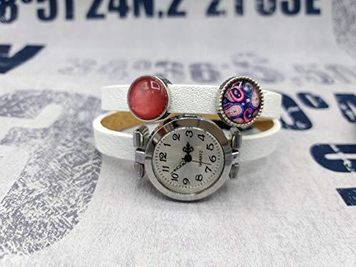 Wickelarmbanduhr Wickeluhr Armbanduhr Lederarmband Uhr Schmuck weiß lila violett pink rosa silber Mandala Boho Bohemian Schiebeperle Cabochon Geschenkidee