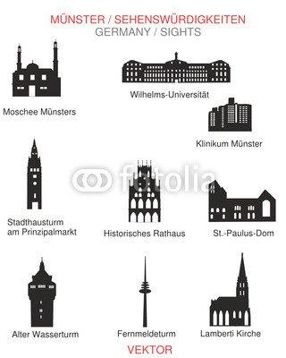 """Leinwand-Bild 70 x 90 cm: """"Sehenswürdigkeiten Münster"""", Bild auf Leinwand"""