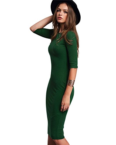 Kenancy Damen Bodycon Casual Bleistiftkleid Halbarm Businesskleid Party Midi Kleid Grün s (Damen Jacke S 1960)