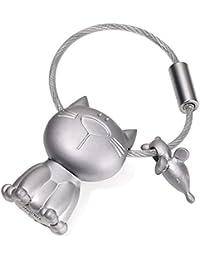 TROIKA - KR14-20 - KATZ + MAUS - Porte-clés chat et souris, fonte métallique, mat
