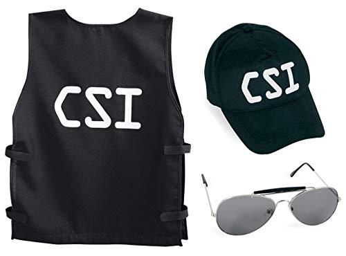 KarnevalsTeufel Kostüm - Set CSI für Kinder | 3-TLG. CSI-Weste, CSI-Basecap und Sonnenbrille | Agent, Geheimermittler, Security, Polizei, FBI, SWAT (140)