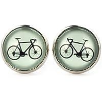 "SCHMUCKZUCKER Damen Ohrstecker ""Fahrrad"" Modeschmuck Ohrringe silber-farben lind-grün 14mm"