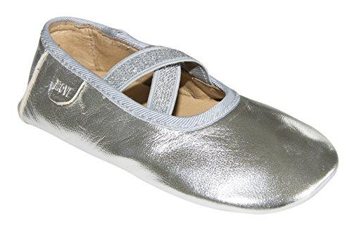MOVE Prewalker Ballerina W. Elastic, Hausschuh Mädchen, Baskets Basses fille Argent - Silber (900/silver)