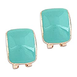 Young & Forever Paradiso Collection Red Carpet Celebrity Inspired Sea Green Oversized Bend Studs Join the club Stud Earrings for women by CrazeeMania (E60295)