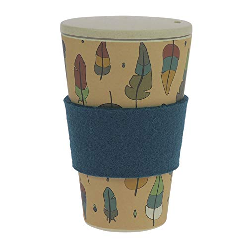 Taza de café para llevar de ebos hecha de bambú | con tapón de rosca, anilla de fieltro lana |taza para beber | Biodegradable, y respetuoso con el medio ambiente |apto para lavavajillas (Pluma Mágica)