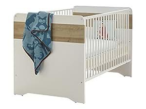 trendteam Babyzimmer Babybett Kinderbett Boston, 144 x 84 x 78 cm in Korpus Eiche Honig Dekor, Front Weiß mit drei Schlupfsprossen und 3-fach höhenverstellbarem Matratzenrahmen