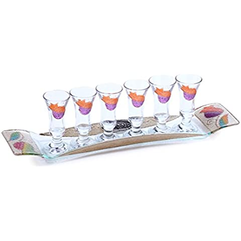Kiddush Cup & Fountain Set - Lily Art RECTANGLER KIDDISH CUPS SET. 6 LITTLE CUPS ON A RED POMEGRANATE TRAY (Bundle)