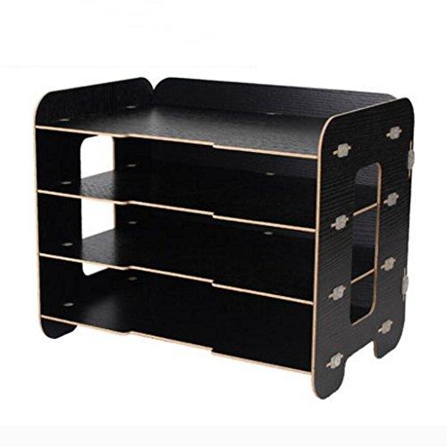 Liuyu · Maison de vie Fichier Plateau Creative BRICOLAGE Bureau Bureau Boîte De Rangement Woody A4 Finition Cabinet ( Couleur : Noir )