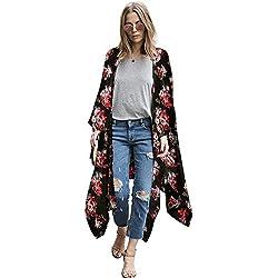 Zexxxy Ropa de Abrigo Larga y Casual para Mujer Vintage Flowy Estampado de Flores Cardigan de Playa Negro Grande