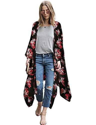 Zexxxy Lange Casual Outwear für Frauen Vintage Flowy Flower Print Cardigan Beachwear Schwarz XL Print-vintage-mantel