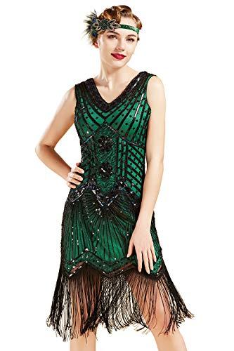 BABEYOND Damen Flapper Kleider voller Pailletten Retro 1920er Jahre Stil V-Ausschnitt Great Gatsby Motto Party Damen Kostüm Kleid (Grün, XXL (Fits 86-90 cm Waist))